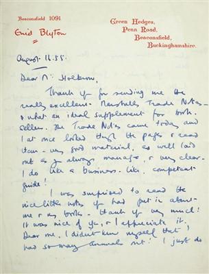 Lot 544-Blyton (Enid,1897-1968). Autograph Letter, Signed, 1955