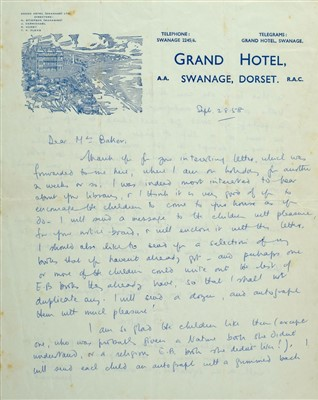 Lot 545-Blyton (Enid, 1897-1968). Autograph Letter, Signed, 1958