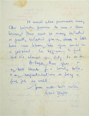 Lot 546-Blyton (Enid, 1897-1968). Autograph Letter, Signed, 1960