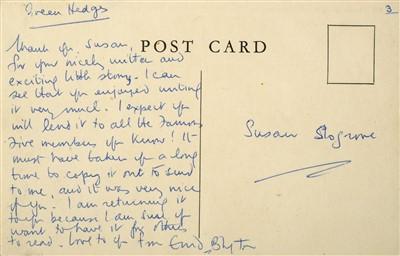 Lot 547-Blyton (Enid, 1897-1968). Autograph Letter, Signed, Undated