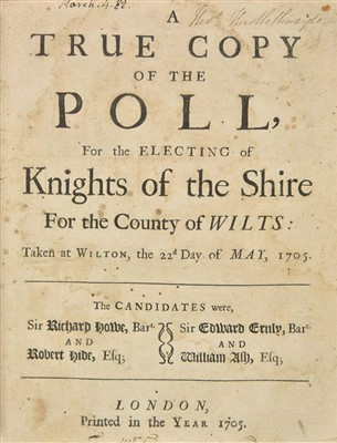 Lot 64-Wiltshire. A True Copy of the Poll, for the Electing of Knights of the Shire, 1705