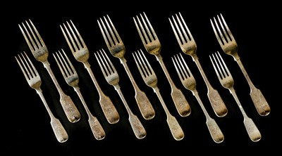 Lot 48-Silver. A mixed collection of Victorian silver cutlery