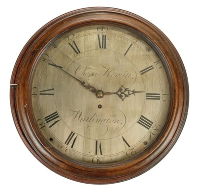 Lot 33-Clock. An 18th century mahogany case wall clock