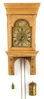 Lot 32-Clock. An 18th century hooded wall clock by William Risbridger of Dorking