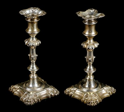 Lot 41-Candlesticks. A pair of William IV silver candlesticks, Henry Wilkinson & Co, Sheffield, 1836 / 1839