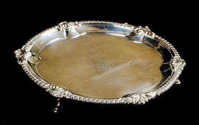 Lot 45-Salver. A George III silver salver, by John Swift, London 1763