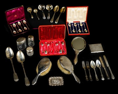 Lot 47-Silver. A mixed collection of silver items