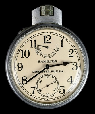 Lot 38-Pocket Watch. A WWII U.S. Navy Chronometer pocket watch by Hamilton Lancaster