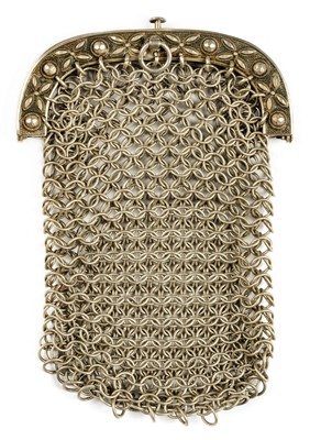 Lot 44-Purse.  A George III silver mesh purse by John Thropp, Birmingham 1822