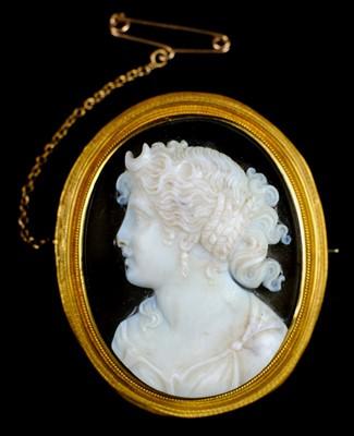 Lot 8-Brooch. A Victorian cameo brooch circa 1850