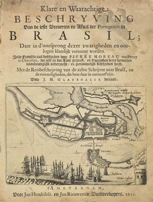 Lot 27-Moreau (Pierre). Klare en Waarachtige Beschryving... der Portugezen in Brasil, 1652