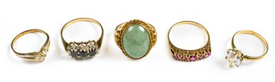 Lot 30-Rings. Mixed 9ct gold ladies rings