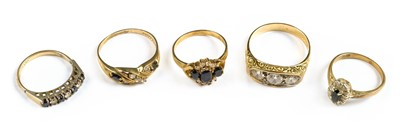 Lot 28-Rings. Mixed 9ct gold ladies rings