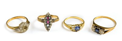 Lot 26-Rings. Mixed 18ct gold ladies rings