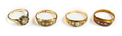 Lot 27-Rings. Mixed 18ct gold rings