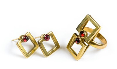 Lot 18-Ring. A 14ct Gold Suite comprising ring and a pair of earrings, circa 1970s