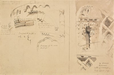Lot 290-Ruskin (John, 1819-1900). Studies of Architecture at the Church of St. Etienne, Beauvais