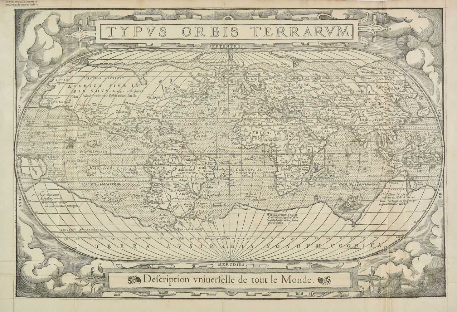 Lot 151-World. De Belleforest (Francois), Typus Orbis Terrarum, circa 1575