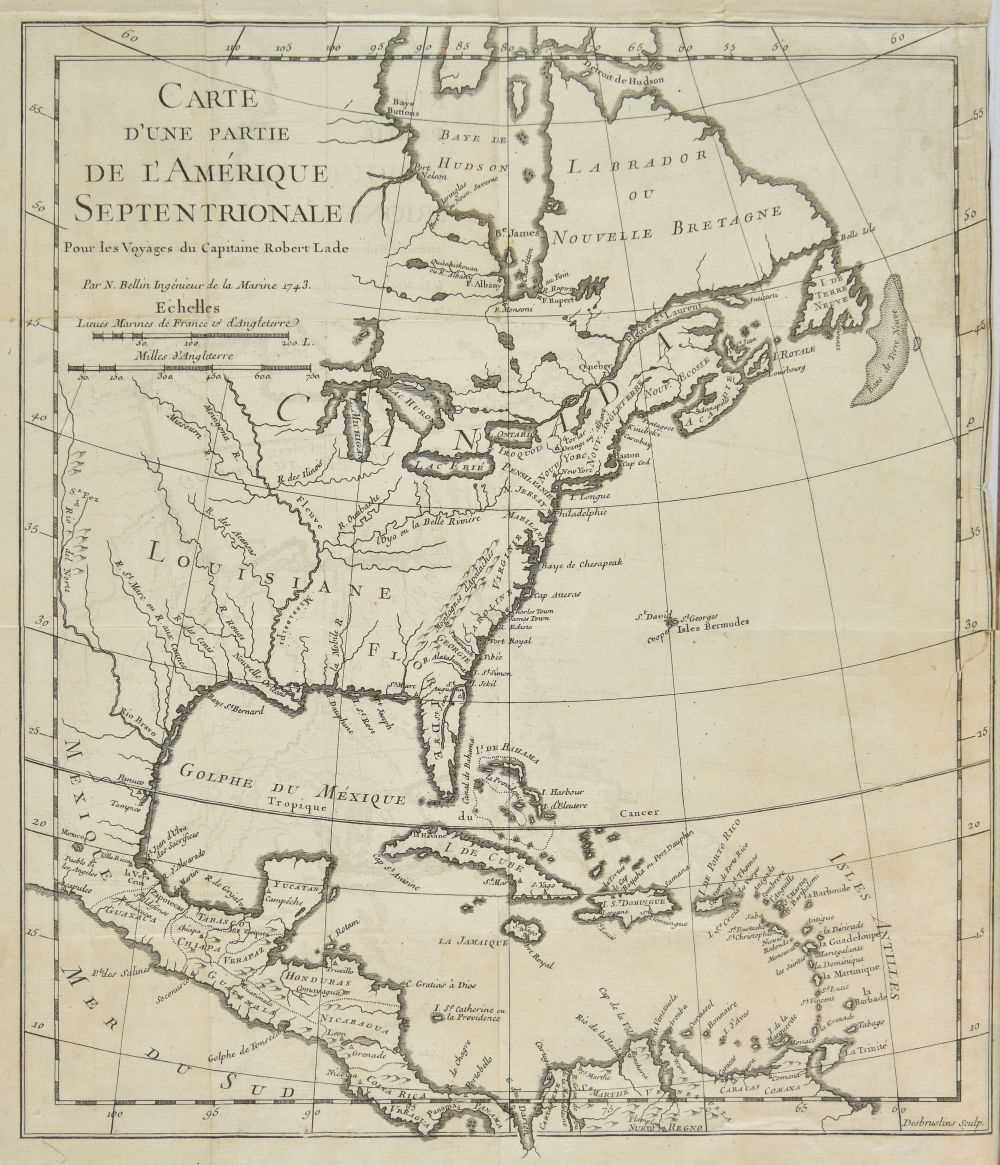Lot 32-Prevost d'Exiles (Antoine-Francois). Voyages du Captaine Lade, 2 volumes, 1st edition, Paris 1744
