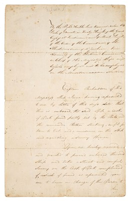 Lot 255-Nelson (Horatio, 1758-1805). A memorandum... Masters of the Victory, Royal Sovereign and Seahorse
