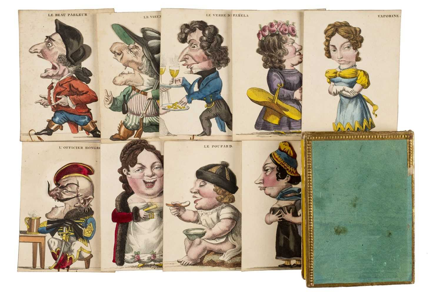 Lot 540-Moveable cards. A set of French caricature cards, circa 1820s-30s