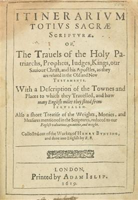 Lot 13 - Bünting (Heinrich). Itinerarium totius sacrae scripturae, 1st edition in English, 1619