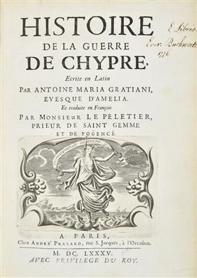 Lot 27-Graziani (Antonio Maria). Histoire de la guerre de Chypre, 1st edition in French, 1685