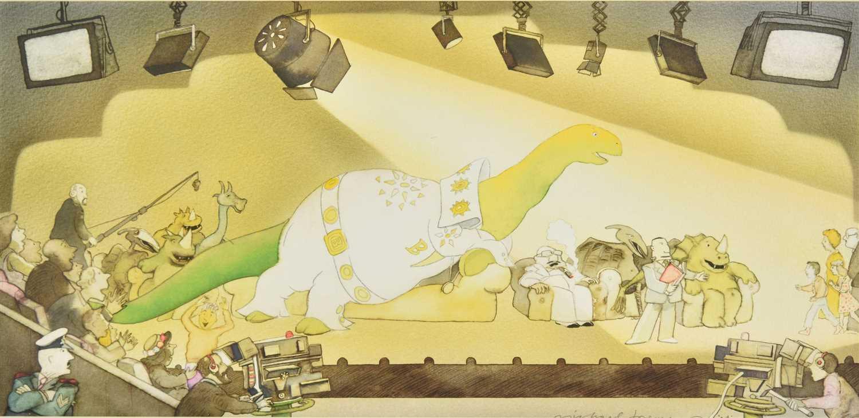 Lot 24-Foreman (Michael, 1938-). Original illustration for Brontosaurus Super Star