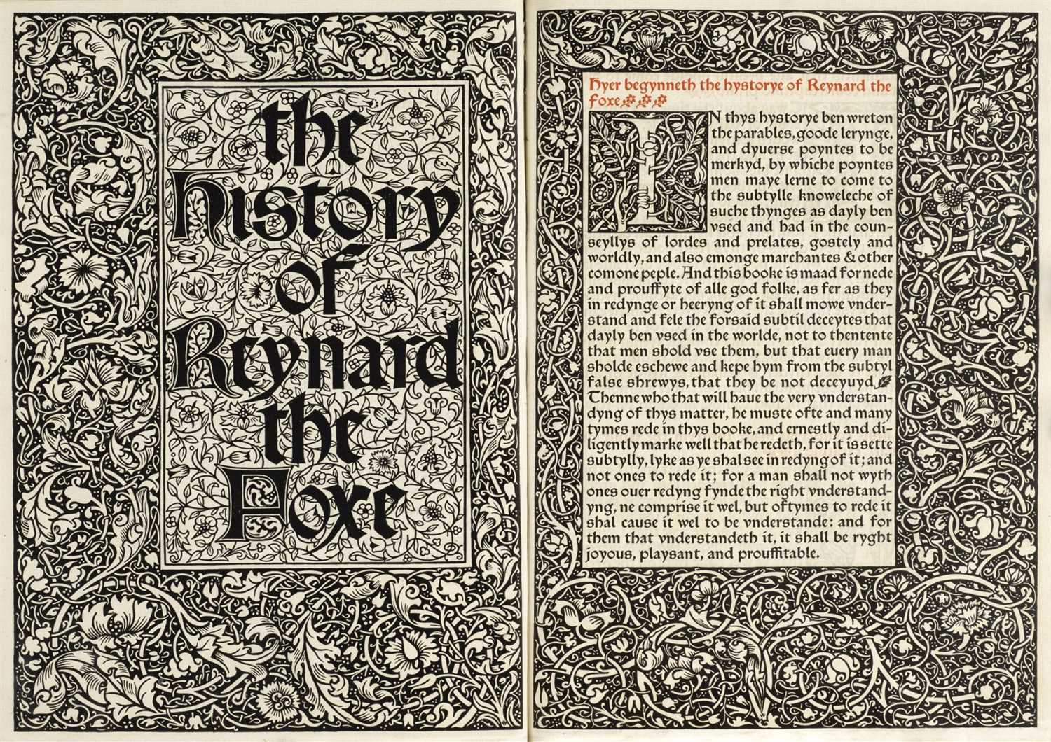 402 - Kelmscott Press. The History of Reynard the Foxe, by William Caxton, Printed by William Morris, 1892