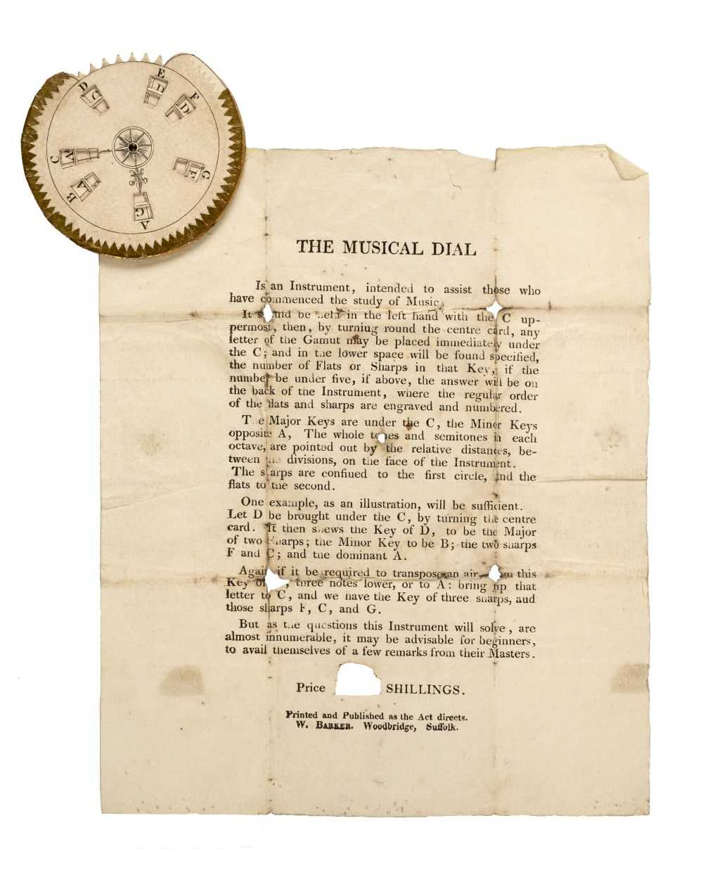 Lot 551-Educational Aide. The Musical Dial, Woodbridge, Suffolk: W. Barker, early 19th century