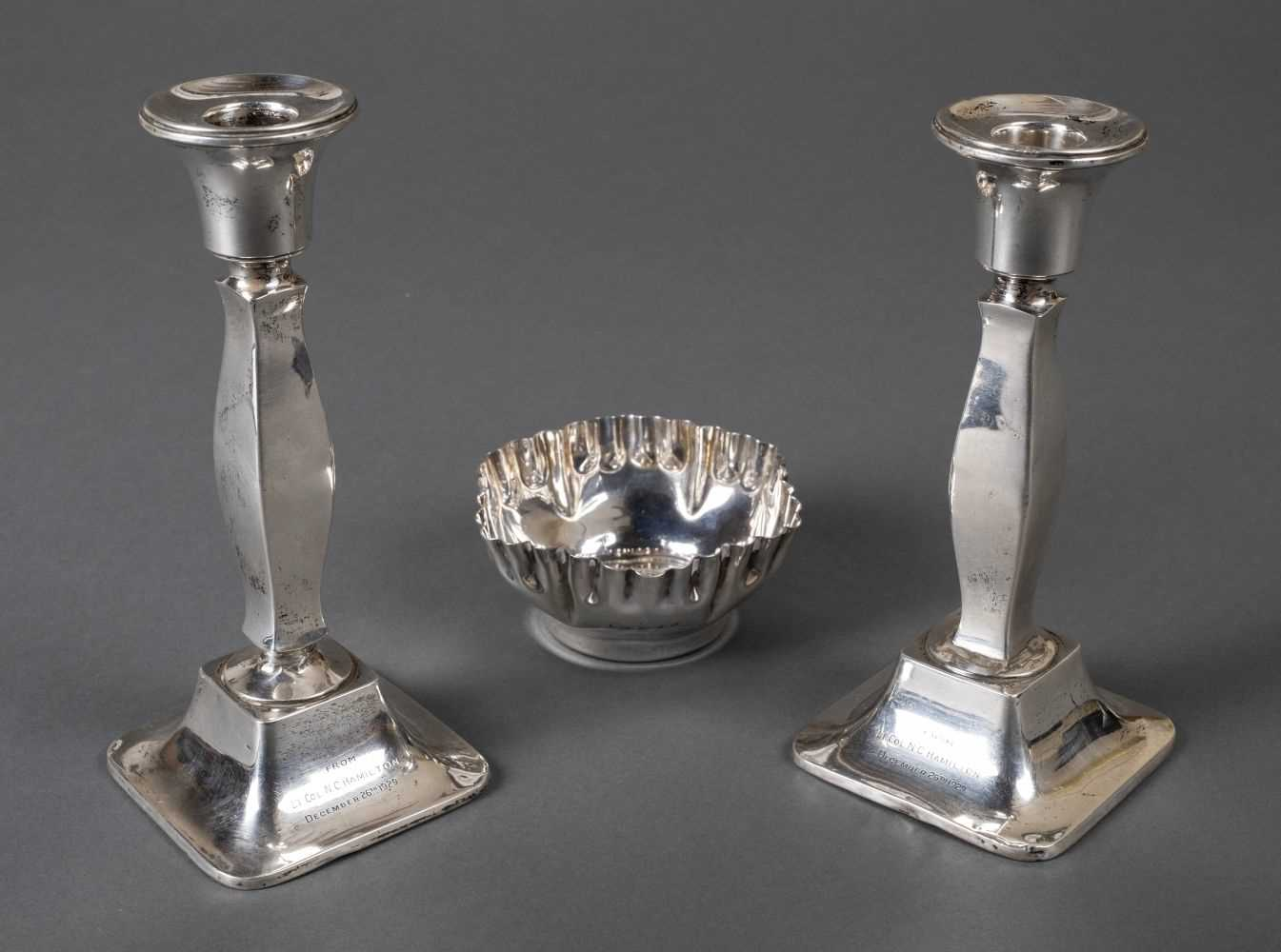 Lot 38 - Mixed silver. A pair of silver candlesticks and bowl