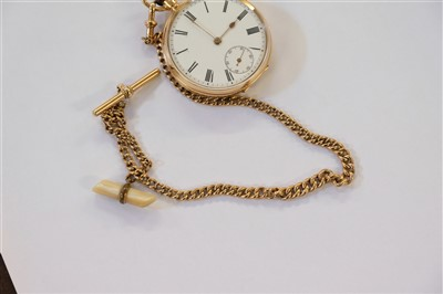 Lot 18 - Pocket watch. An Edwardian 9ct gold open face pocket watch and chain