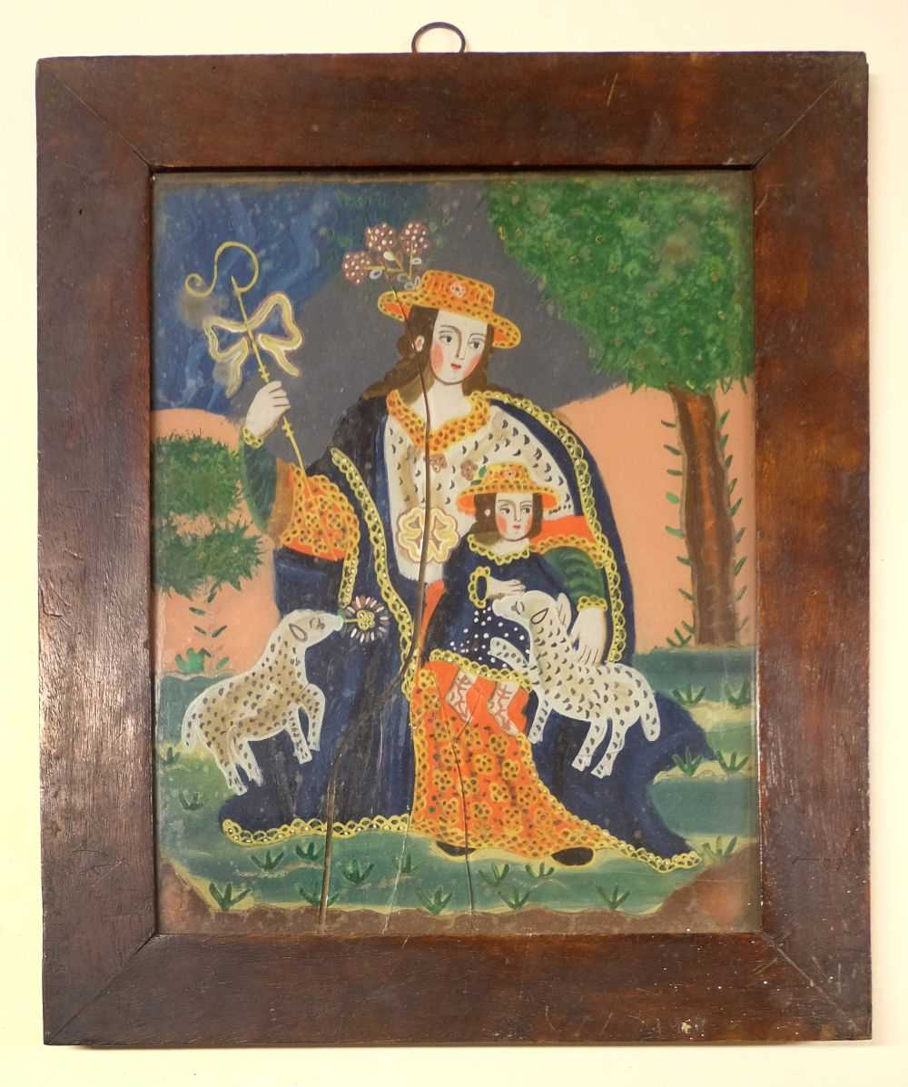 Lot 17-Glass Painting. La Divina Pastora, late 18th/early 19th century