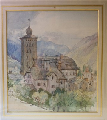 Lot 17-Dodd (Francis H, 1874-1949), Stockalper Tower, Switzerland, watercolour on paper