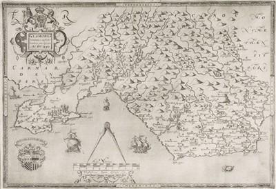 Lot 28-Glamorganshire. Saxton (Christopher & Webb William), Glamorg comitatus australis..., 1642
