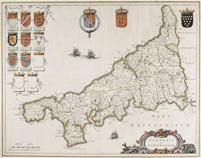 Lot 18-Cornwall. Blaeu (Johannes), Cornubia sive Cornwallia, Amsterdam, circa 1645