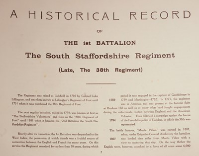 Lot 43 - South Staffordshire Regiment. A Pictorial Souvenir and History of the First Battalion, 1926