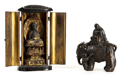 Lot 76 - Chinese figural group. A Chinese bronzed figural group circa 1900