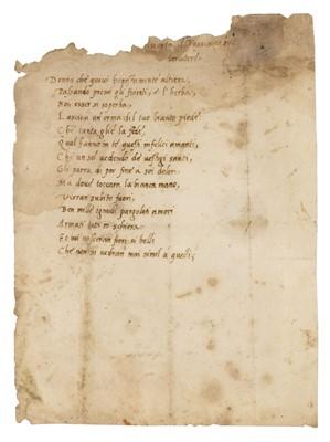 Lot 346-Tasso (Bernardo, 1493-1569). Original manuscript poem Donna che quivi