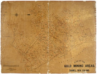 Lot 38-New Zealand. Plan of the Gold Mining Areas, Thames, New Zealand, circa 1886