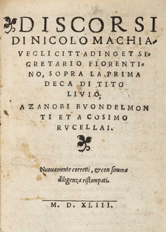 Lot 326-Machiavelli (Niccolo). Discorsi, Venice 1543