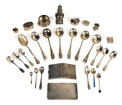 Lot 37 - Mixed silver. A collection of silver including 6 soup spoons