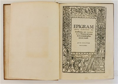 Lot 194-More (Thomas). Epigrammata clarissimi dissertissimique viri Thomae Mori Britanni..., 1520