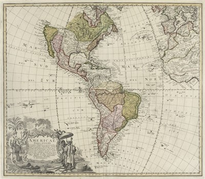 Lot 5-Americas. Homann (Johann Baptiste, Heirs of), Americae Mappa Generalis, circa 1745