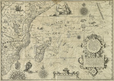 Lot 43-Linschoten (Jan Huyghen van). Navigatio ac itinerarium in orientalem, 1st edition in Latin, 1599