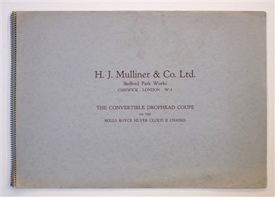 Lot 20-Mulliner (H.J. & Co. Ltd.). Rolls Royce Convertible Drophead Coupe brochure, circa 1960