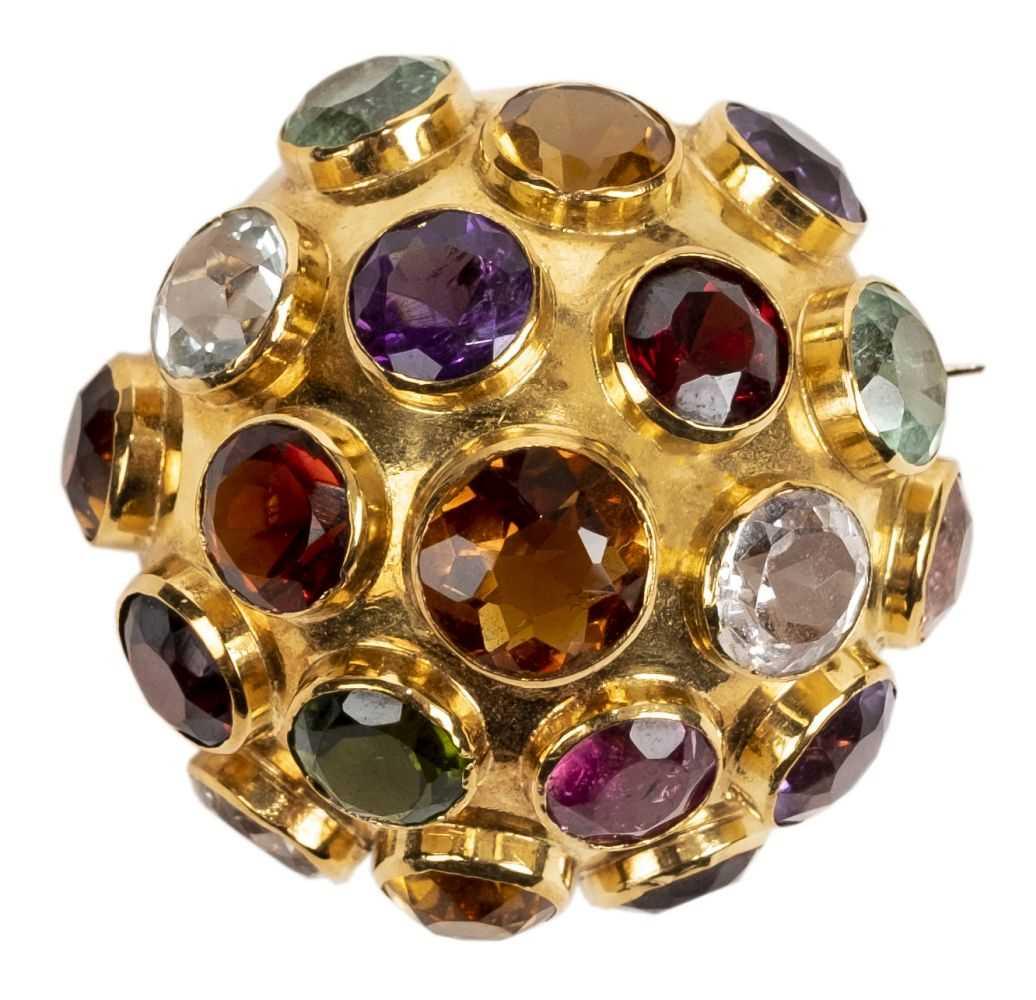 Lot 7 - Brooch. A Continental 18ct gold multigem set brooch