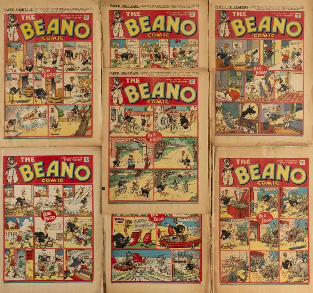 Lot 599 - Beano. The Beano Comic nos. 65, 66, 72, 73, 107, 108 & 122, together 7 issues, 1939-40