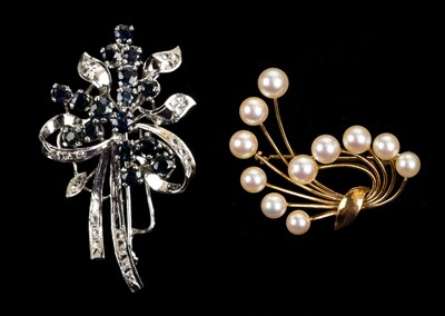 Lot 9 - Brooches. A white metal brooch set with diamonds and sapphires