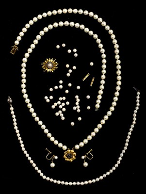 Lot 17 - Necklace. A Continental pearl necklace with 14K gold clasp